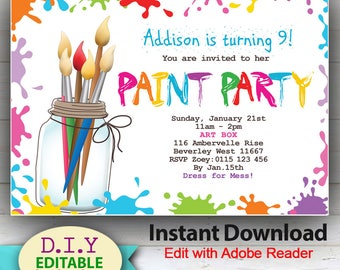 Colorful invite etsy editable paint party invitation colorful birthday invites for arty kids rainbow colors edit filmwisefo