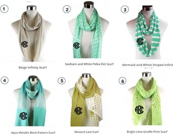 Monogrammed Scarf, Infinity Scarf, Monogram scarves, Personalized, Gift for Her, Embroidered Scarf, Birthday, Retirement, Teacher's Gift