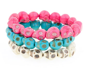 Day of the Dead Jewelry Triple Stack Bracelets-Pink/Cream/Turquoise