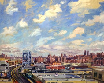 Realist Oil Painting, Uptown Sky, Broadway Bridge, New York City. 24x30 NYC Urban Impressionist Winter Scene, Signed Original Fine Art