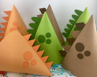 Dinosaur Party Hats - Brown, Green and Orange