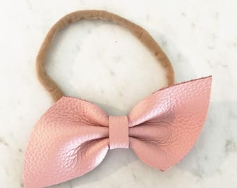 Blush pink Leather bow headband or hair clip