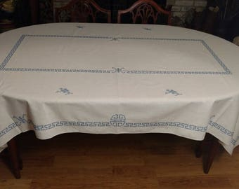 """Vintage Blue and White Cross Stitched Tablecloth 85""""x56"""""""