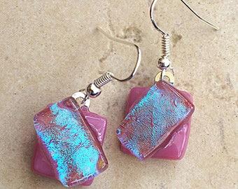 Pink Blue Fused Dichroic Glass Dangle Earrings, Wearable Art, Handmade Earrings, Art Glass, Fused Glass Jewelry, Silver Hook Earrings, Rose