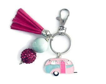 Camper Key Chain/Retro Camper Key Chain/Pink and Green/Camping Key Chain/Camper Gifts/RV Gifts/Vintage Camper/Camping Gifts/Caravan