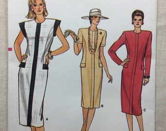 Vogue 9320 Pattern, Vintage 80's Dress, Misses' Dress, Semi-fitted, Straight Dress, Extended Shoulders, Shoulder Pads, Sizes 18-20-22, uncut