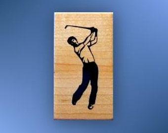 GOLFER, man playing golf mounted rubber stamp, summer sports, golfing No.14