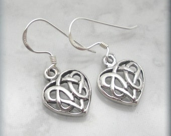 Celtic Heart Earrings Celtic Knot Jewelry Irish Jewelry Sterling Silver Dangle Earrings Birthday Gift for Her Love