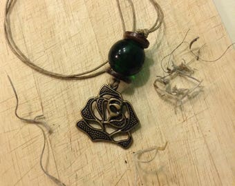 Bohemian Rose Hemp Cord Necklace