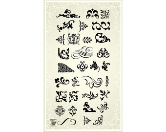 Damask patterns - clear stamp set 031 // Flonz clear stamps