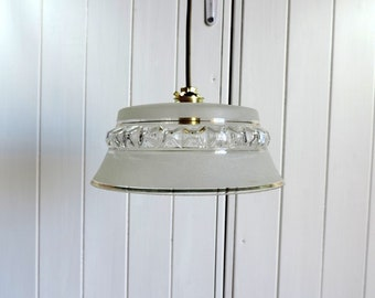 Vintage French Art Deco style frosted molded glass ceiling or pendant light