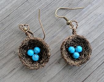 Earrings , birds nest earrings , wire wrapped earrings, beaded earrings, nature jewelry,  turquoise earrings