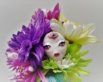 Handmade Polymer Clay Doll Face With Eyeliner, Red Lips, Third Eye, Evil Eye, Unique Beauty, creepy cute, goth,