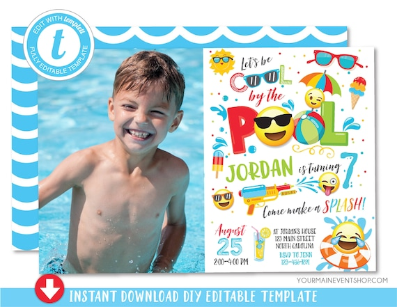 Boy Emoji Pool Party Invitation Pool party birthday Photo invitation Boy Emoji Pool Party party invite Cool by the Pool Summer Swim Party