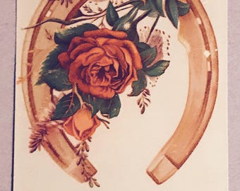 Victorian Trade Card 1800s, Beautiful Red Rose And Gold Horseshoe, Deering and Co, Harvesting Machinery, A Wonderful Antique Collectible