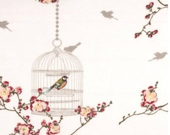 coupon of oilcloth tablecloth bird cage romantic white fabric