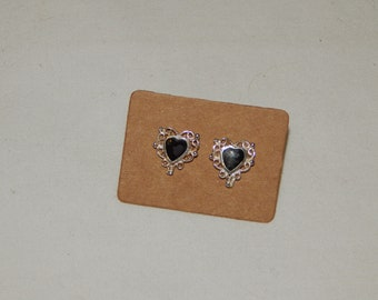 Vintage Sterling Silver Filigree Heart Post Earrings with Black stones