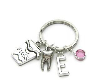 Personalized Dental Keychain, Dental Hygienist Keychain, Dentist Keychain, Dental Floss Keychain, Tooth Keychain, Dental Jewelry Gift