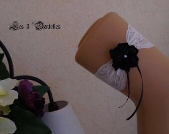 Black and white lace wedding garter * lace * custom