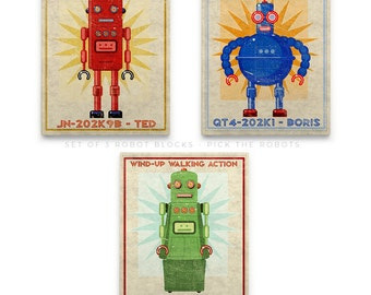 Boys Room Decor, Kids Bedroom Decor, Gift For Dad, Retro Robot Art Blocks, Kid Decor, 3 Print Set, Boy Nursery Art, Boys Wall Art