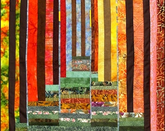 Wall Hanging Landscape Quilt Art Forest Scene Patchwork  Limited Edition