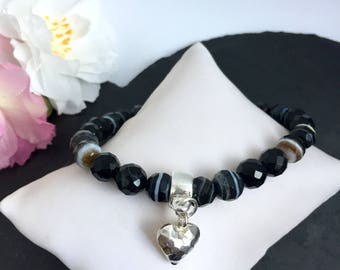 Black Sardonyx and Sterling Silver Puffy Heart Bracelet / Gift for her / LBD jewellery