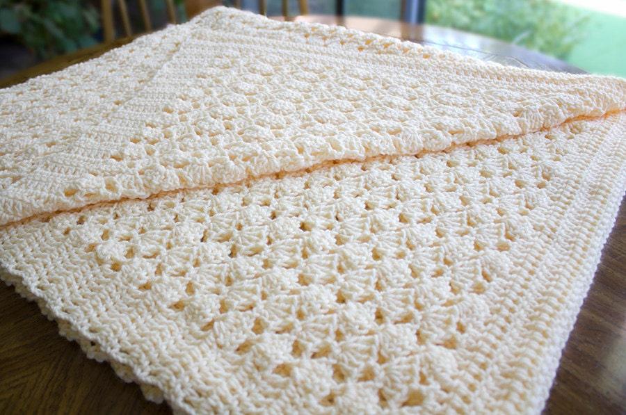 Ganchillo manta afgana tiro crema crema Beige Color Shell