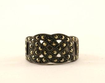 Vintage Braided Design Marcasite Ring 925 Sterling RG 2333