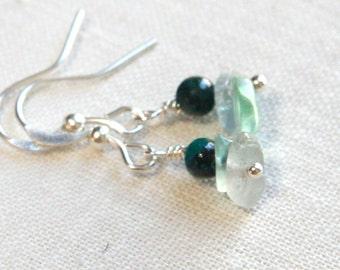 Statement Jewelry Minimal Earrings Natural Stone Chrysocolla Rough Fluoride Earrings Emerald Green Purple Stone Earrings Sterling Silver