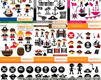 Pirate clipart sale bundle / Pirate kids clip art  commercial use digital images, instant download graphics