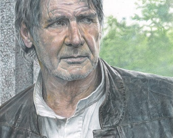 Drawing Print of Colored Pencil Drawing of Han Solo from Star Wars: The Force Awakens 8.5x11