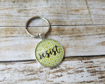 Resist Trump, Resistance Key Chain, Resist Necklace, Political Statement, Feminist Necklace, Liberal Gift, Anti Trump Gift, Activism Gift