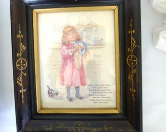 Two Antique Walnut Frames with Gold Filled Incising