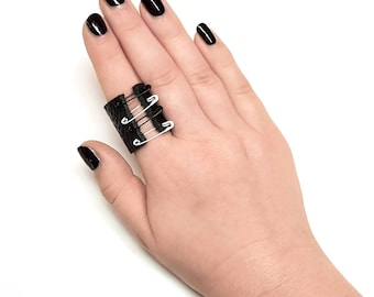 Leather Ring With Pins Black and White