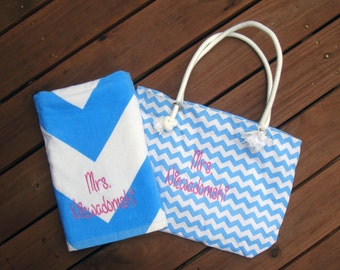 Beach Bag and Beach Towel with Embroidery for Bridesmaid Gifts, Beach Wedding, Personalized Tote