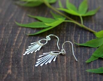 Fringe earrings, sterling silver fringe earrings, dangle earrings, sterling silver, ring, boho jewelry, everyday jewelry