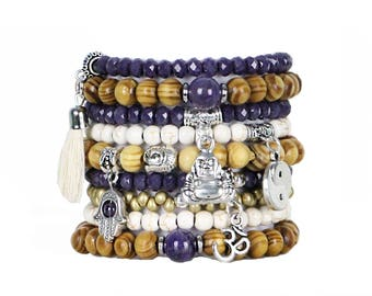 Beaded Bracelets Set of 9 Stretch Bracelets Bohemian Buddha Themed Stack with Silver Tone Charms and Tassel