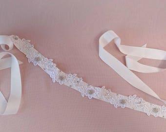 Bridal belt, sash, Venice lace wedding sash belt, pearls crystals ivory and silver heirloom wedding, luxury wedding belt, Style 508