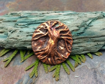 Artisan CopperPrecious Metal Clay  Tree of Life Pendant