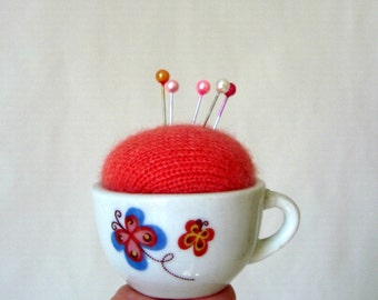 Wee Pincushion Make-Do in Tiny Cup Coral with Butterflies on White