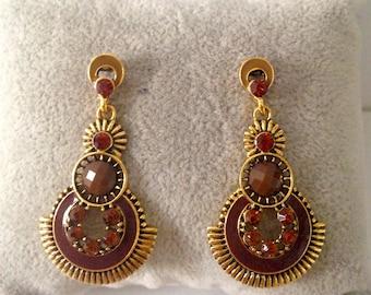 Earrings Brown circles