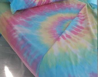 Twin XL Sheet Set, college dorm bedding, tie dye sheets, sheets tie dye, student college gift, Twin XL sheet set, XL sheets, Pastel bedding