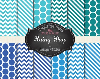 Rainy Day - Blue digital papers - 12x12 and 8.5x11 300 dpi