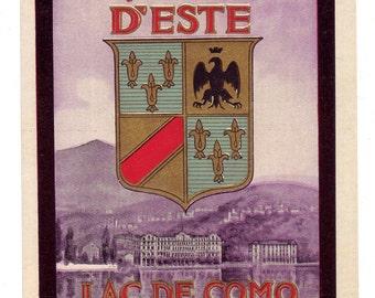 Genuine Original Unused Luggage Steamer Trunk Label:  Villa D'Este Lac de Como Cernobbio (Lake Como, Italy)