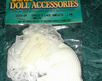 "BABY DOLL  socks child's lace anklets white fits 18"" dolls  1 pr   unused"