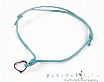 Heart Wish bracelet // turquoise waxed cotton // silver plated heart charm wish bracelet // handmade // ready to ship