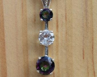 3 Gemstone Pendant Featuring Mystic Topaz and White Topaz