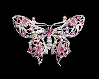 Crystal Butterfly Brooch Pin Silver Tone Pink