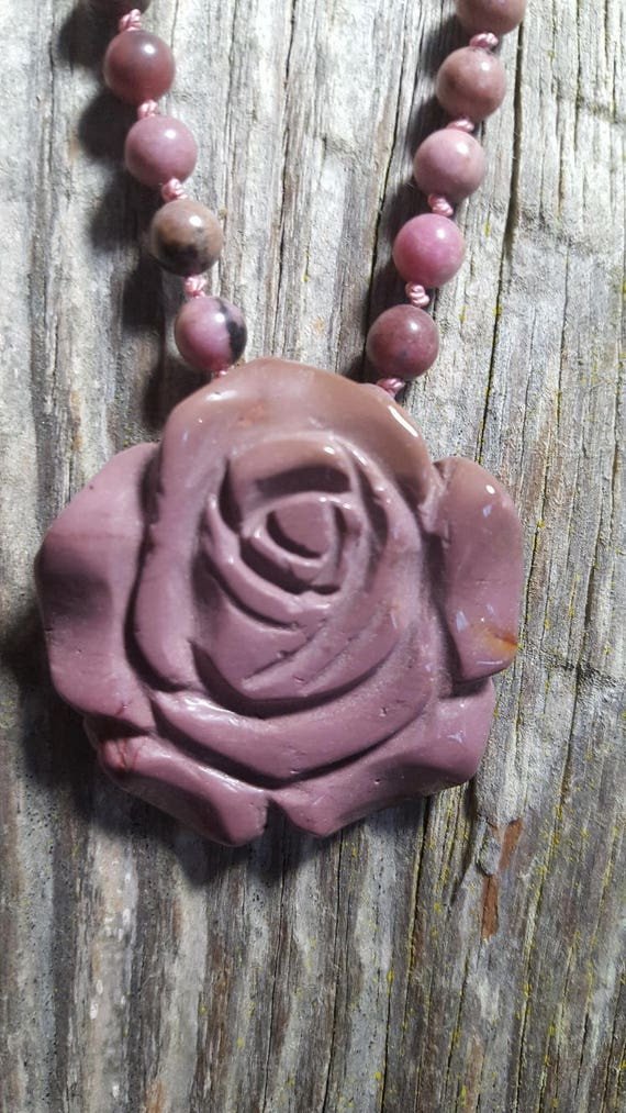 Rose Necklace Gemstone Rhodonite