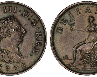 1806 George III farthing Great Britain copper coin